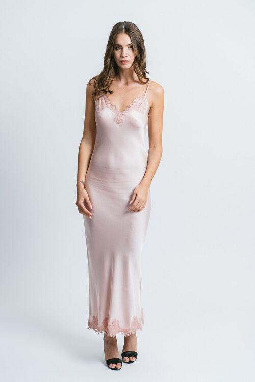 Longuette slip dress with lace