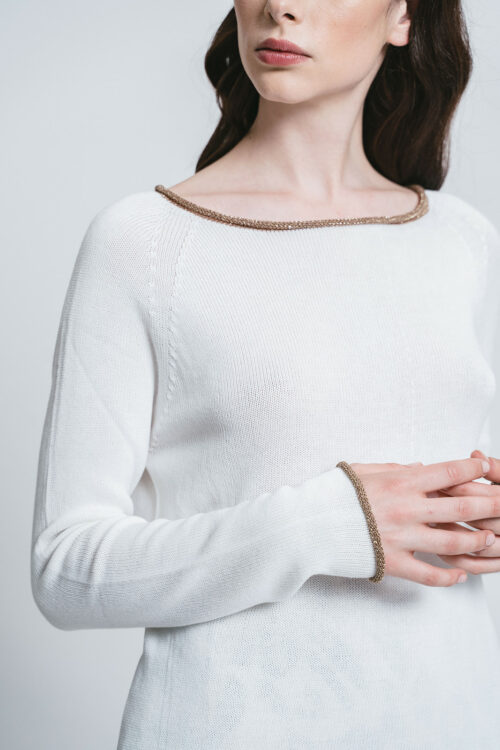 Sweater with Gold/lurex borders