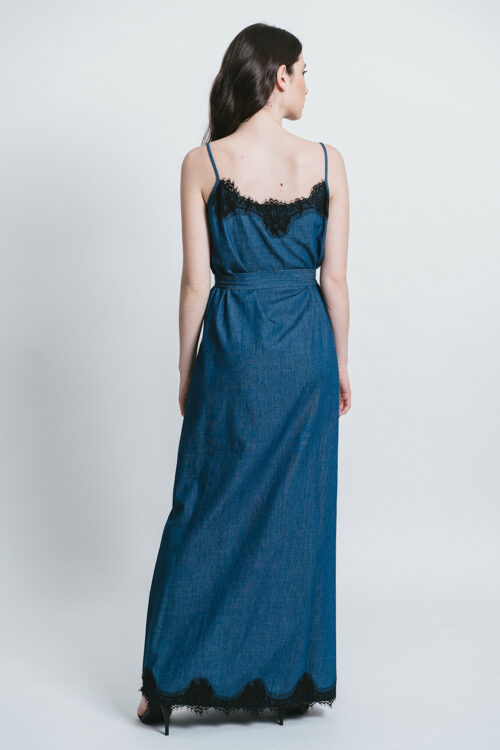 Long slip dress with belt and lace