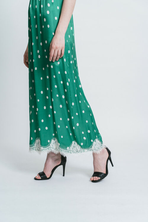 Printed slip dress with lace details