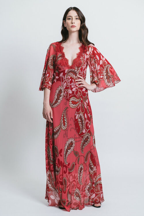 Long printed dress with lace