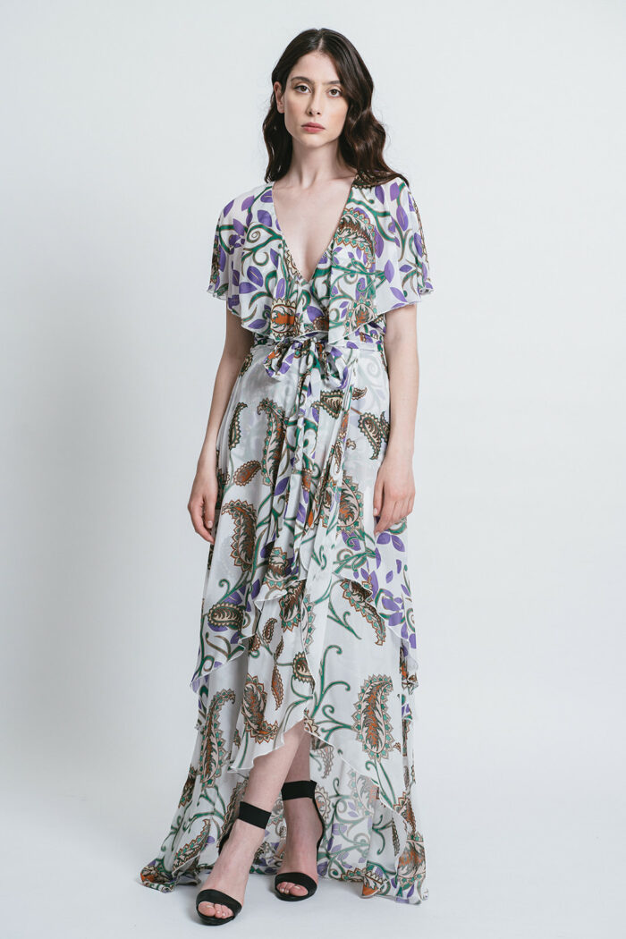 Printed dress with rouches