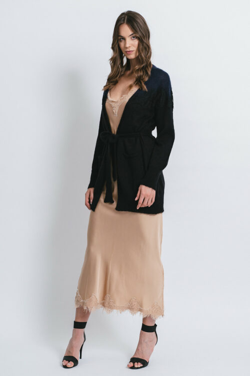 Bicolored cardigan  with lace