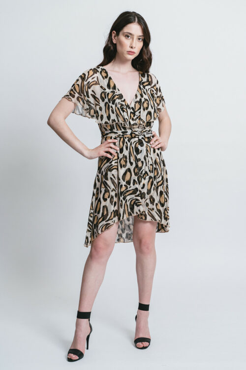 Short printed dress with rouches