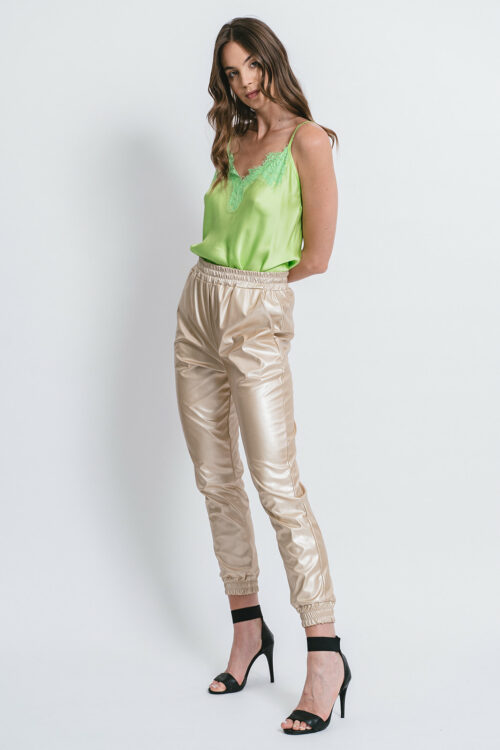 """""""Jogging"""" pants in laminated Eco-leather"""