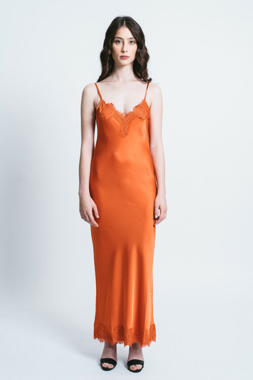 Long Slip dress with lace