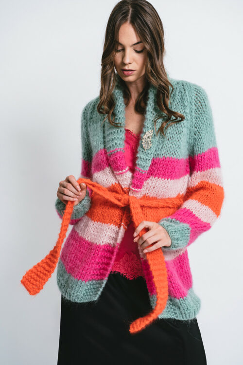 Handmade Cardigan with striped pattern and brooch