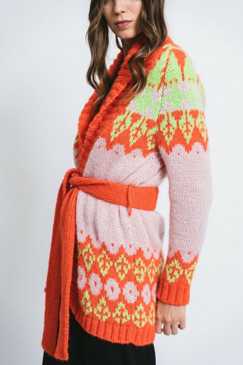 Long Cardigan with Norwegian stitch