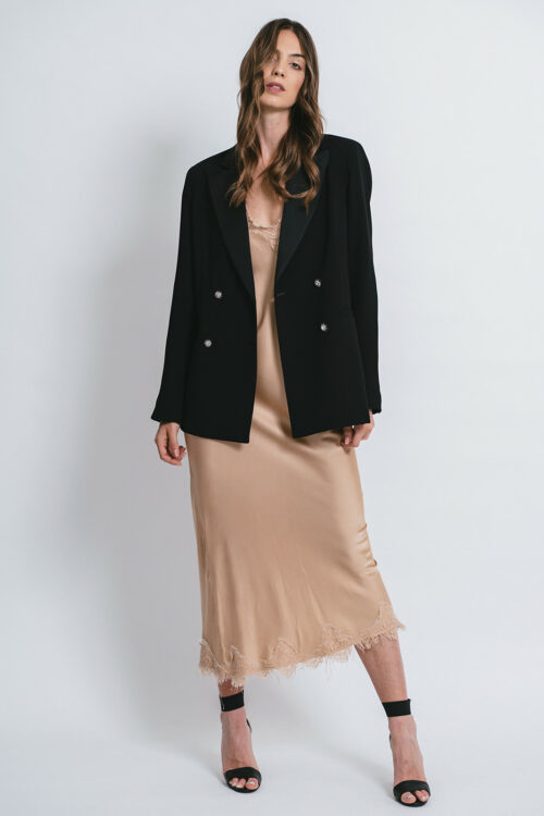 Tuxedo jacket with jewel buttons