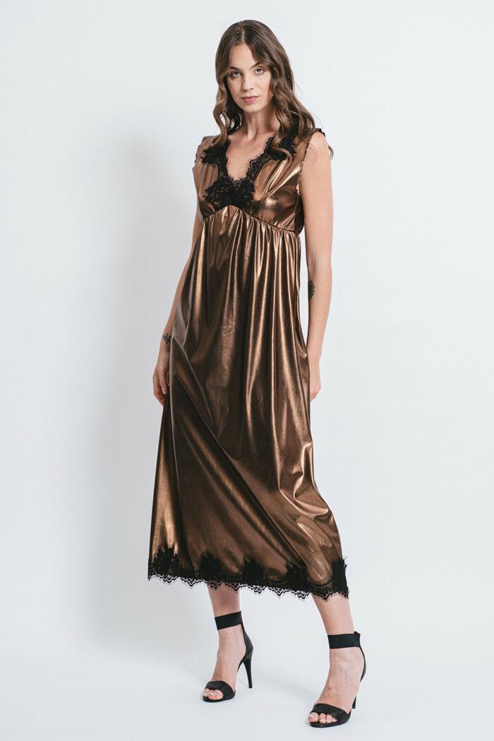 Laminated Eco-leather slip dress with lace