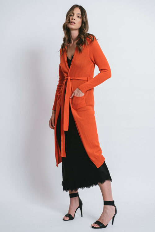 100% Cashmere Long Cardigan with belt