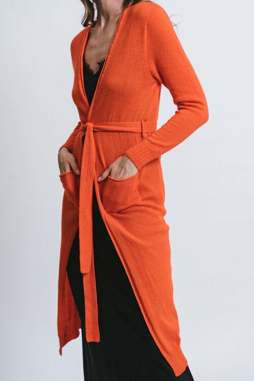 Cardigan lungo con cintura 100% cashmere