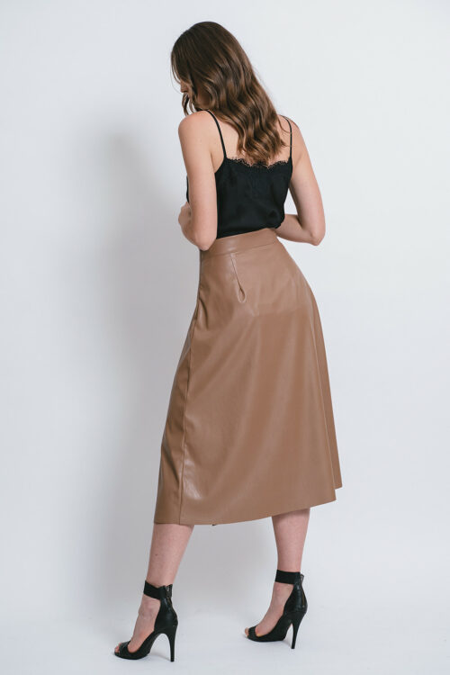 Eco-leather Skirt with a side split