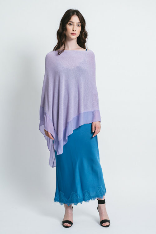 Poncho with rouches