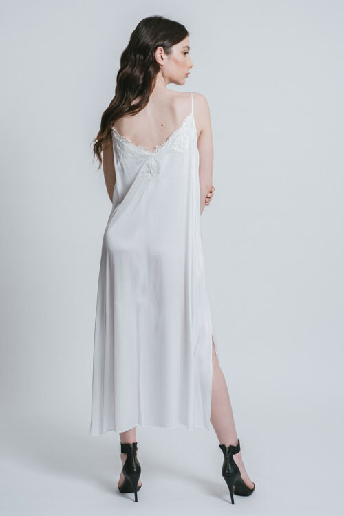Slip dress with side slits and lace