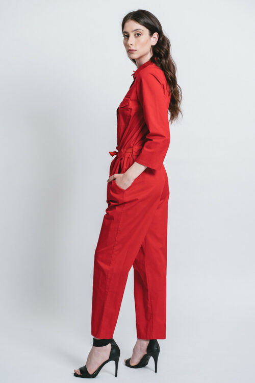 Jumpsuit with belt and jewel buttons