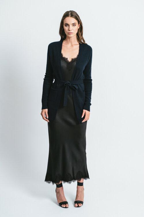 Cardigan con cintura 100% cashmere