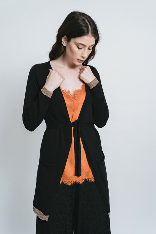 Cardigan with Gold/lurex borders