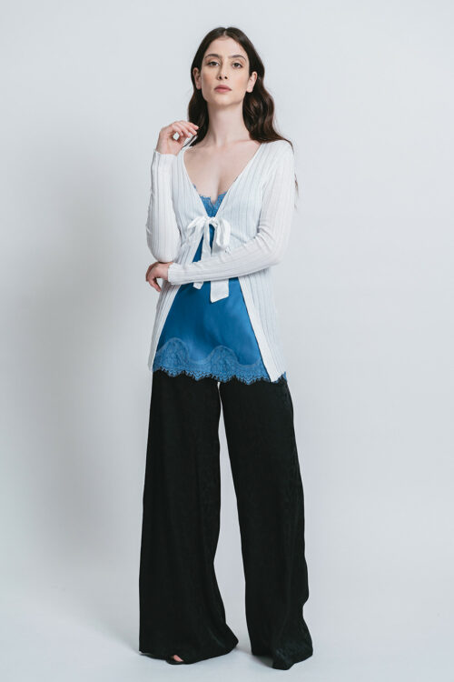 Cardigan with fabric bow