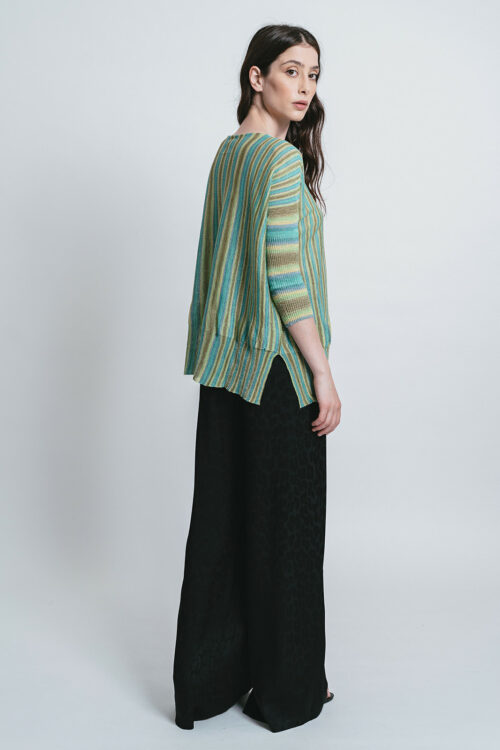 Oversize sweater with lurex stripes