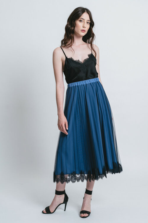 Gonna in tulle plissé con pizzo