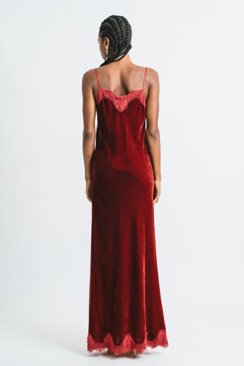 Velvet slip dress