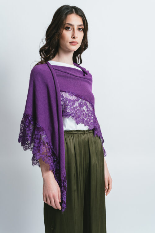 Shawl with lace Alice