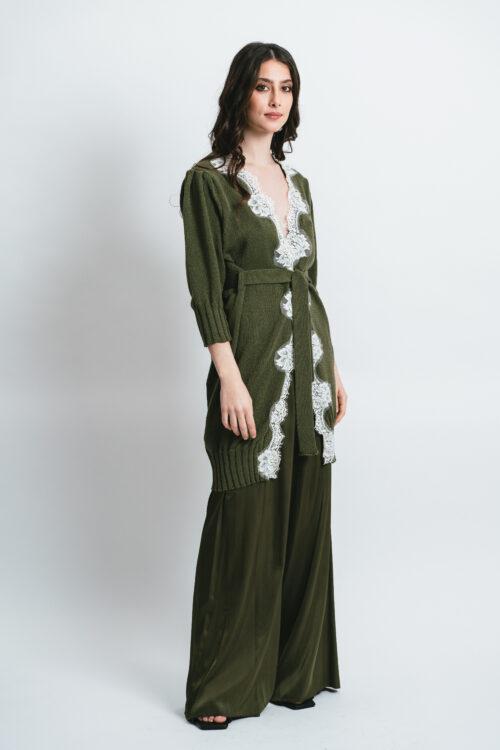 Long cardigan with lace Adele