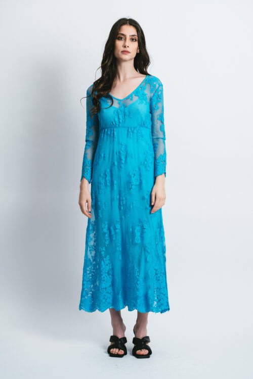 Long dress with micro lace Vera