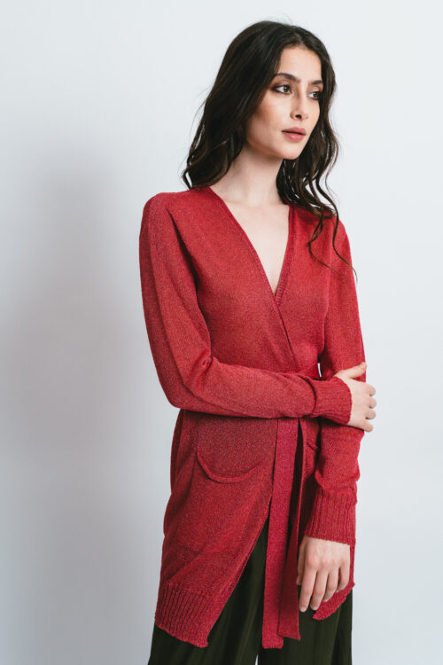 Maxi cardigan in soft Lurex Helen