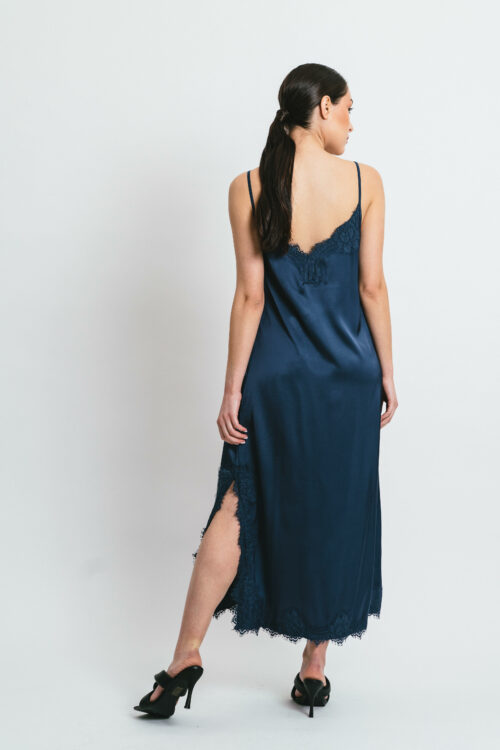 Short slip dress with side and lace Sofia