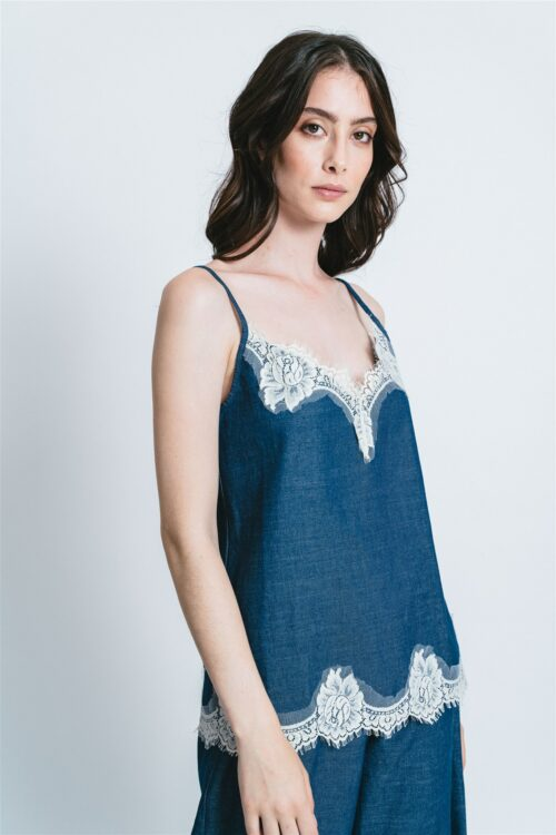 Top in denim with lace Valentina
