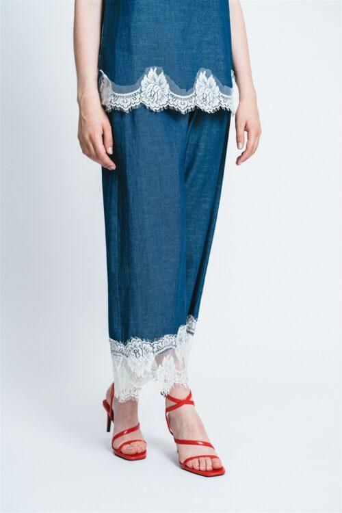 Denim pants with lace Erika
