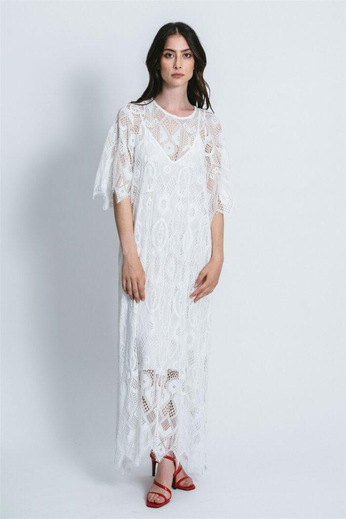 Long Dress with macro lace Chiara