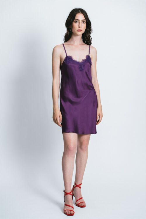Short slip dress with lace Aurora