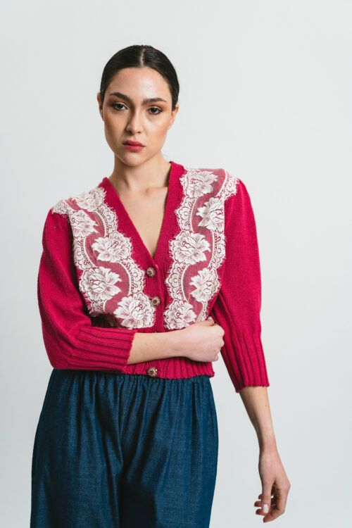 Cardigan with lace and jewel buttons Cleo