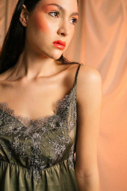 Silk top with french lace