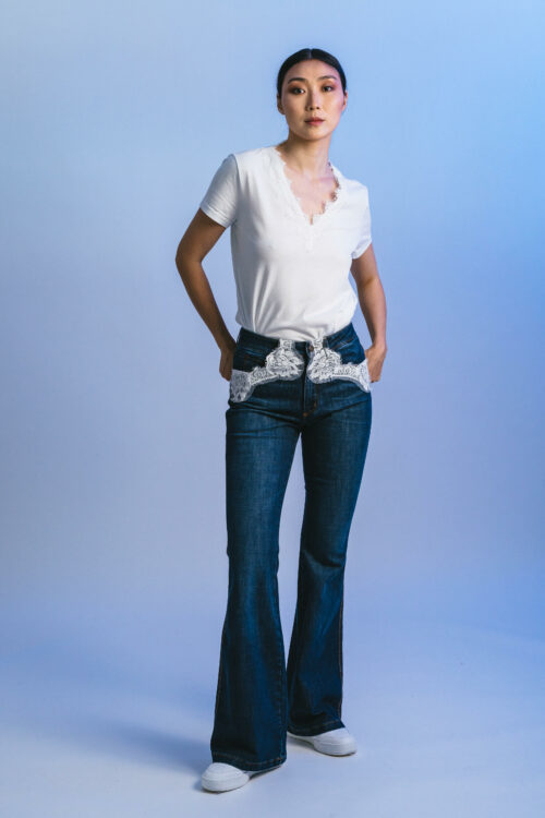 Flared pants with lace Diane