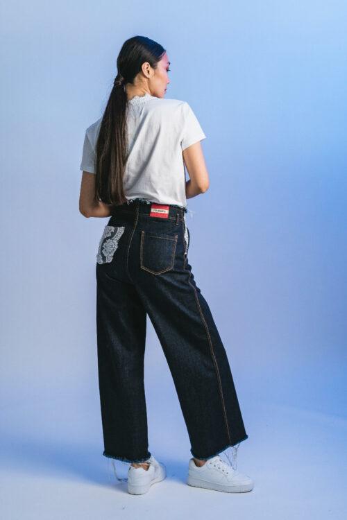 High-waisted pants with lace Natalia
