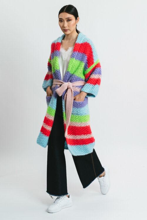 Striped coat cardigan
