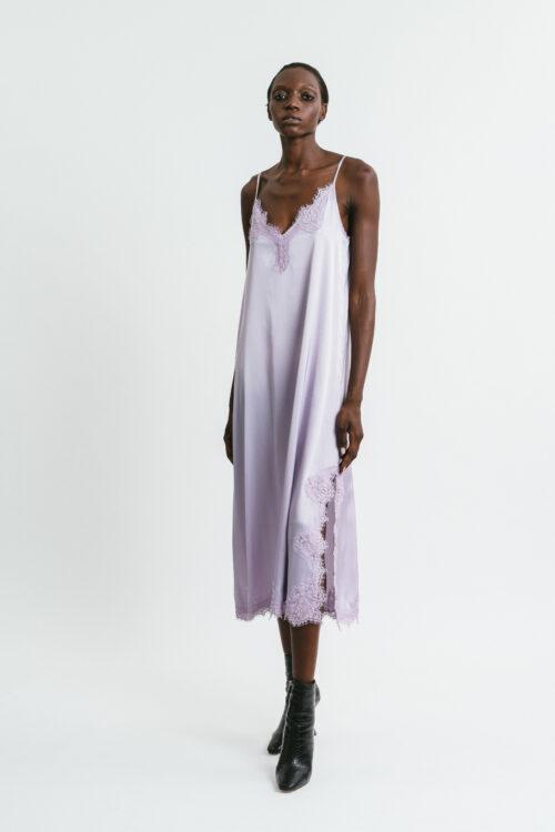 Longuette slip dress with side slit