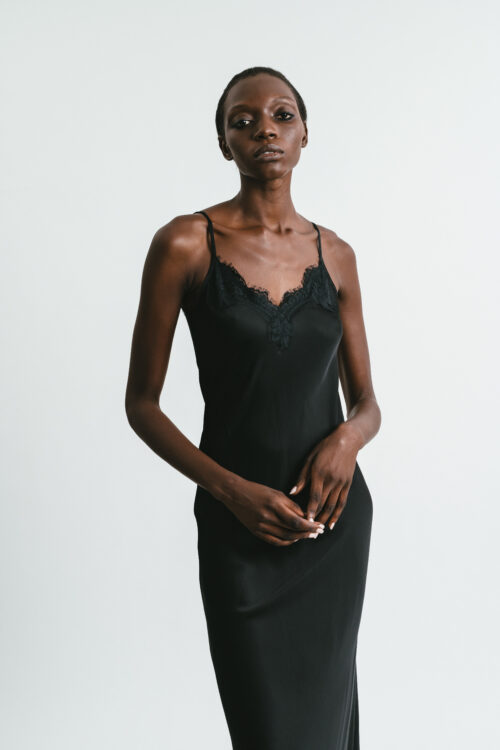 Slip dress with lace