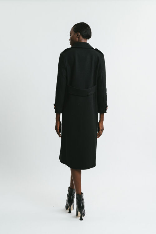 Long coat with jewel buttons