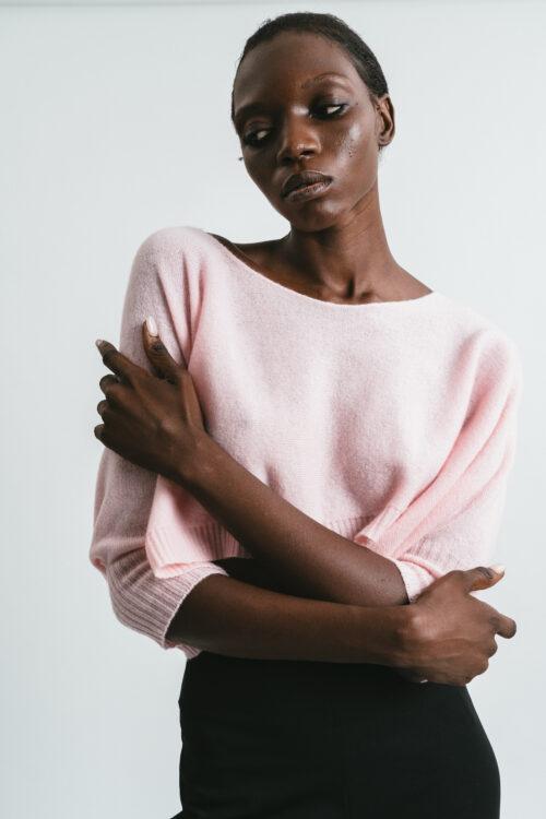 Short poncho sweater