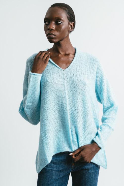 Asymmetrical V-neck sweater