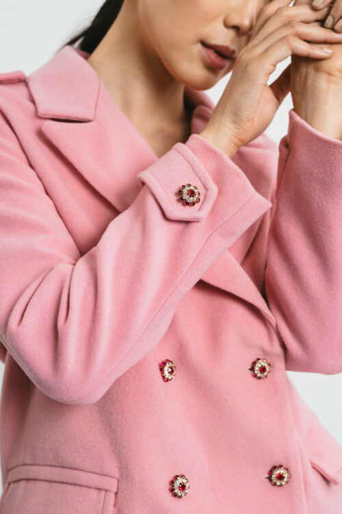 Short coat with jewel buttons